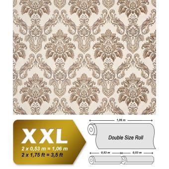 Papier Peint Baroque Xxl Intisse 3d Edem 655 93 Damasse Aspect Textile Creme Beige Marron Scintillant 10 65 M2