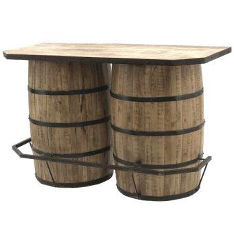 Style Ancien Bar Double Tonneaux Fut A Vin Bois Fer 160 50