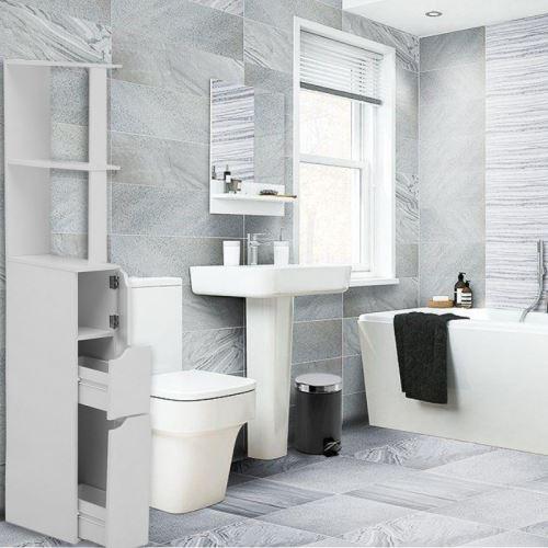 Colonne de salle de bain - CARINDA - 136 cm - blanc - 2 tiroirs - 1 rangement fermé - 3 étagères
