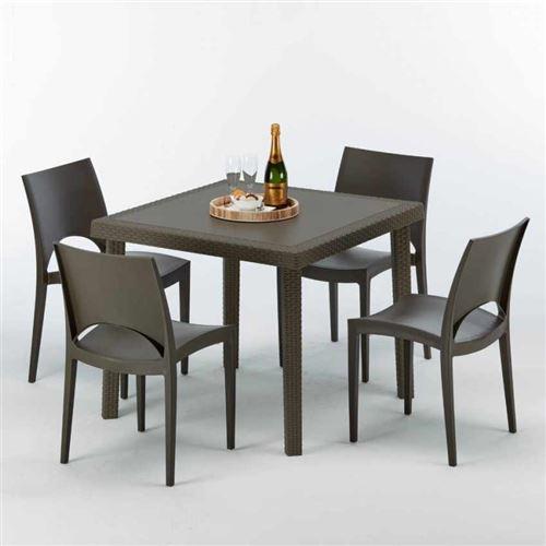 Table carrée et 4 chaises colorées Poly-rotin résine 90x90 marron, Chaises Modèle: Paris Marron Moka