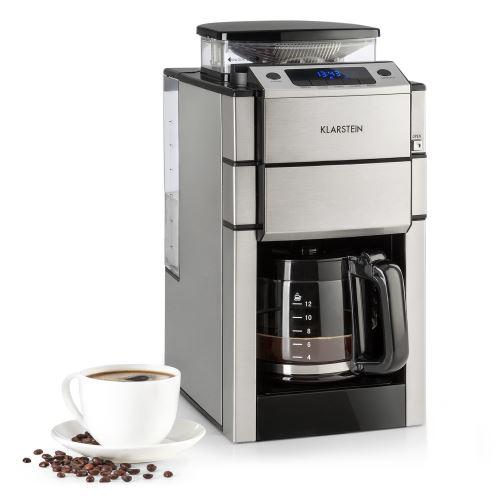 Klarstein Aromatica X - Cafetière à moulin intégré 3 vitesses - filtre permanent - verseuse en verre - 12 tasses - Aroma+ - inox