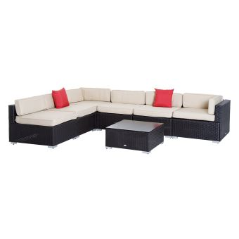 Salon de jardin 6 pers. grand confort canapé d\'angle + table basse + ...