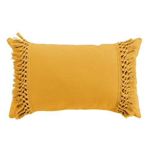 Coussin jaune déhoussable 30x50 cm en coton Salma