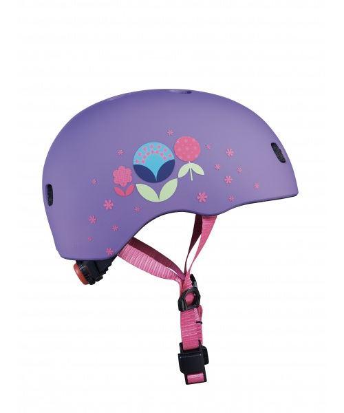Casque Vélo et Trottinette Fleurs boucle magnétique lumière LED intégrée Taille S
