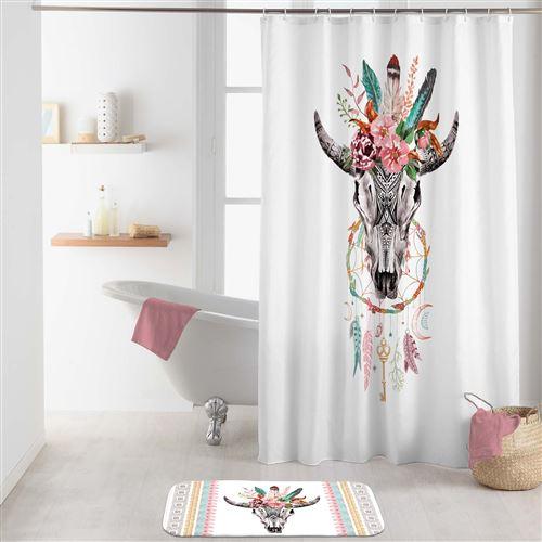 rideau de douche +crochets 180 x 200 cm polyester Buffle spirit