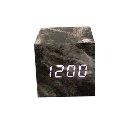 Commande Vocale Calendrier Thermomètre Numérique Led Alarme Horloge en Bois Usb / Aaa Noir PL567