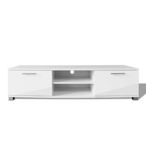KKmoon Support TV à Haute Brillance Blanc Style Elégant 120 x 40,3 x 34,7 cm
