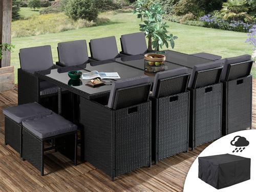 Sophia - Salon de jardin encastrable 12 places - en résine tressée - Noir avec coussins gris + Housse de protection Couleur - Noir