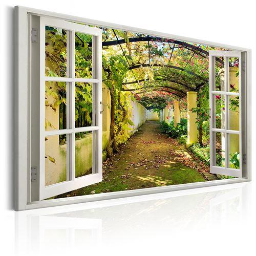 Tableau - window: view on pergola - artgeist - 120x80