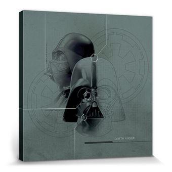 Star Wars Poster Reproduction Sur Toile Tendue Sur Châssis Dark Vador Diagramme 40x40 Cm
