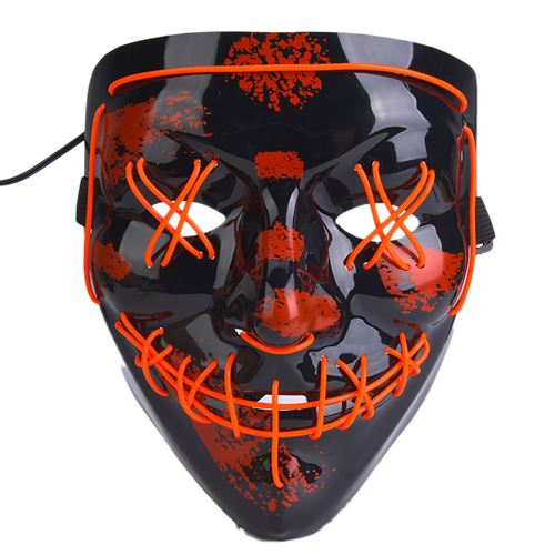 Masque lumineux de Halloween Pitre Noir 3 modes d'éclairage Rouge