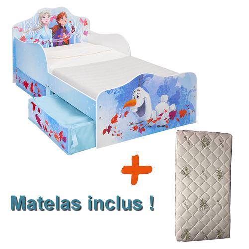 Lit enfant Reine des Neiges 2 avec tiroirs de rangement Disney + Matelas