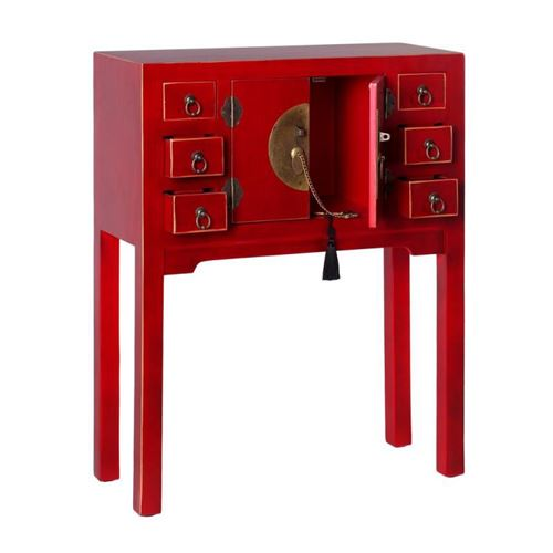 Console 2 portes, 6 tiroirs Rouge Meuble Chinois - PEKIN