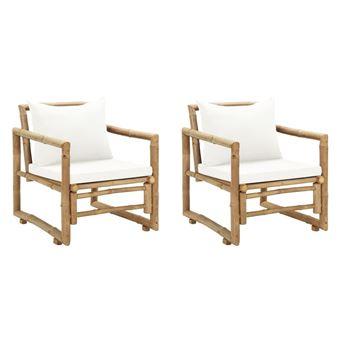 Vidaxl Chaise De Jardin 2 Pcs Bambou 60 X 65 X 72 Cm Mobilier De