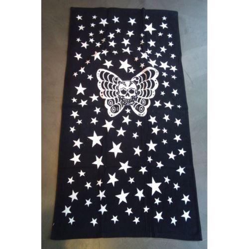 serviette de plage crane papillon noir blanc tete de mort