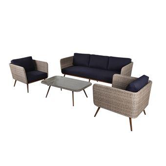Salon bas 5 personnes : 2 fauteuils + 1 canapé 3 places + 1 ...