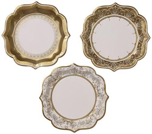 Talking Tables Party Porcelain Gold Grandes Assiettes Festives en Carton pour Noël, Mariage et Réception ou Dîner, Doré, 20 cm (Paquet de 12 contenant 3 modèles)