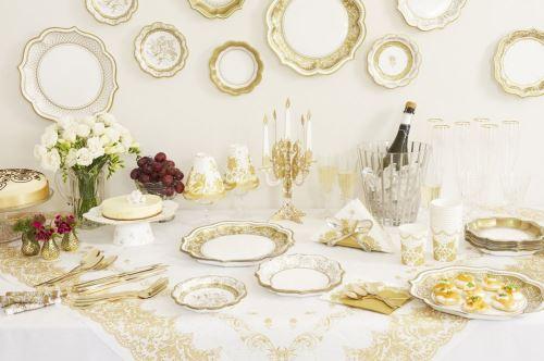 Dor/é Mariage et R/éception ou D/îner 20/cm Talking Tables Party Porcelain Gold Grandes Assiettes Festives en Carton pour No/ël Paquet de 12 contenant 3 mod/èles