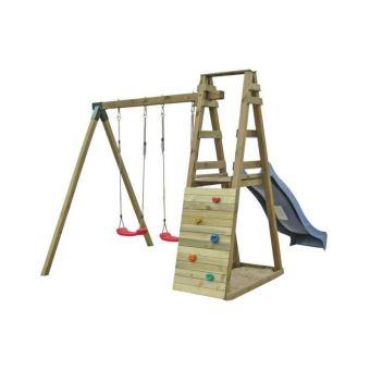 Balançoire Portique Enfant En Bois Avec 2 Balançoires 1 Toboggan Et 1 Mur D Escalade