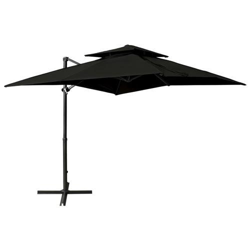 Parasol déporté à double toit 250x250 cm Noir