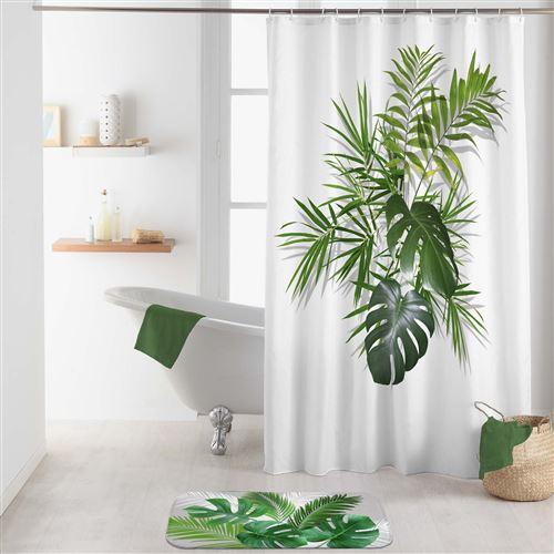 rideau de douche avec crochets 180 x 200 cm polyester Amazonica