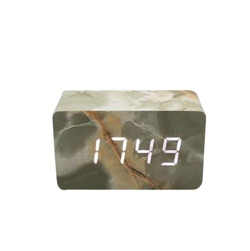 Commande Vocale Calendrier Thermomètre Numérique Led Alarme Horloge en Bois Usb / Aaa Vert PL570