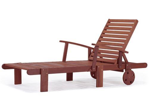bain de soleil pliant en bois exotique tokyo - mahogany- marron acajou