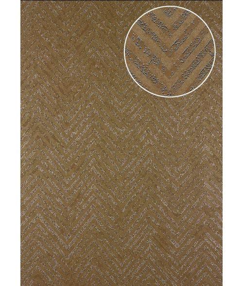 Papier peint à rayures Atlas 24C-5505-2 papier peint intissé texturé avec un dessin de chevrons et des accents métalliques brun beige argent 7,035 m2