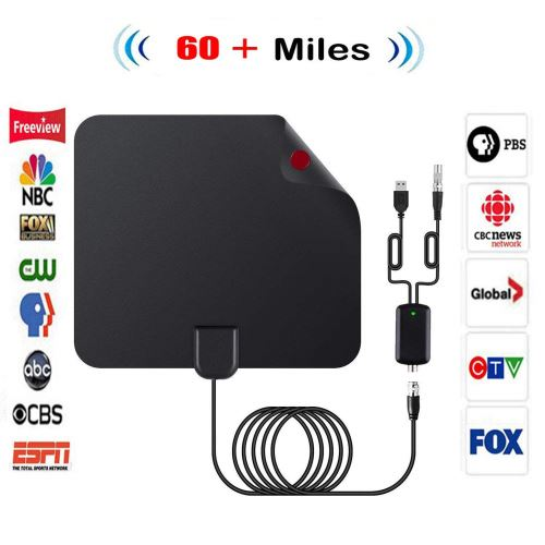 Antenne TV Intérieur Puissante, 50+ Mile HDTV avec Signal Amplificateur Booster Support 4K HD VHF UH