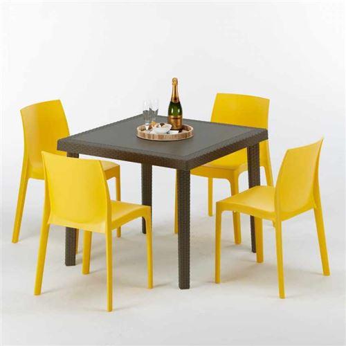 Table carrée et 4 chaises colorées Poly-rotin résine 90x90 marron, Chaises Modèle: Rome jaune