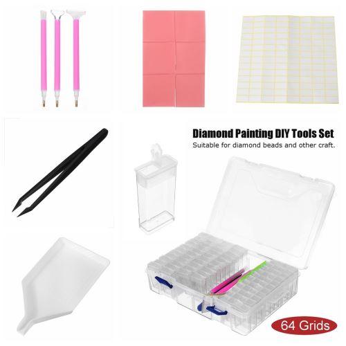 Boîte de rangement d'outils de peinture de diamant de grille de 64 bricolage 5D