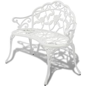 vidaXL Banc de jardin Aluminium coulé Blanc mobilier meuble siège ...