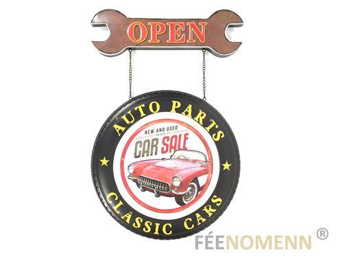 plaque métal déco vintage - effet relief - pompe à essence - station service gasoline (30x20cm)