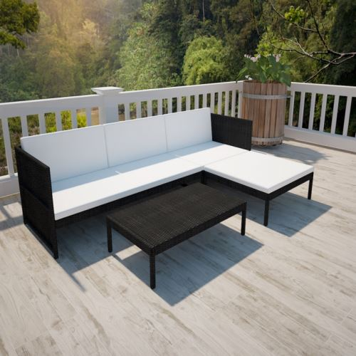 Casasmart - Canapé 3 places d'extérieur avec table polyrotin noir