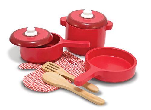 Melissa & Doug Cuisine de luxe Ensemble d'accessoires en bois - Pots & Pans (8 pcs)