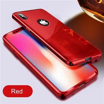 Coque Protection Integrale Pour Iphone 8 Plus Miroir Couleur Rouge Vitre de Protection Full Protect 360 Case Gla