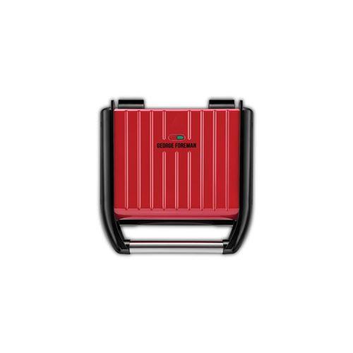 George Foreman Grill Family 25040-56, 28x17cm, Barbecue Électrique, Viande, Panini, Sandwich, Revêtement Antiadhésif, Récupérateur Graisse Amovible, 1650W - Inox/Rouge