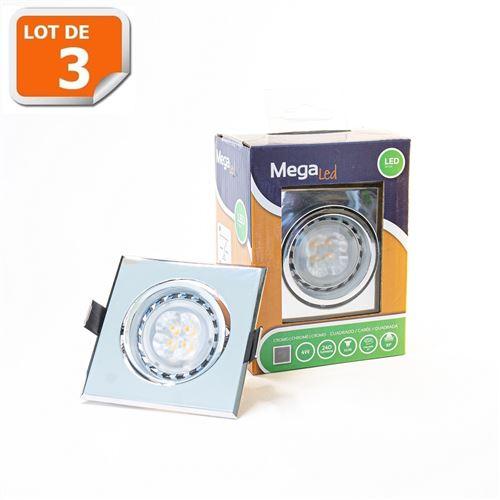 Lot 3 Spots encastrables LED amovibles Argenté 4W - Equivalent 40W - Mega Led CL10GUSC40W