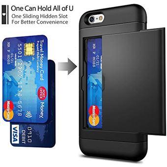 Coque iPhone 6 6s Porte Carte et 2 Protecteurs dEcran en Verre Trempe etui Anti Choc en Silicone TPU et PC Anti Rayures Protection integrale Fente pour Carte SUPBEC iPhone 6 4 7 Nior