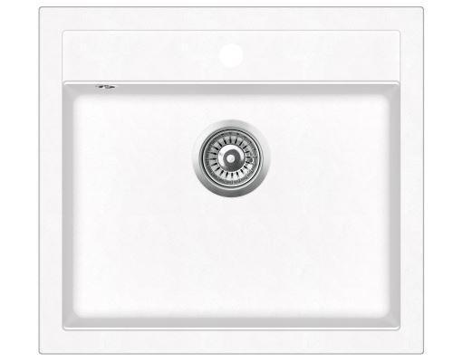 Evier Granit Blanc - Carré Sans Égouttoir - Simplex - Achat & Prix