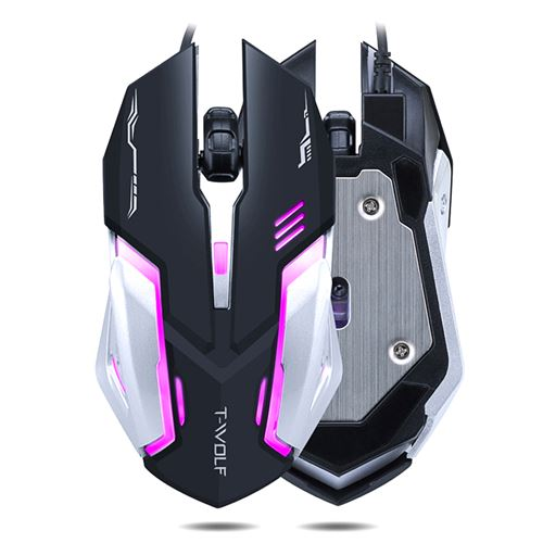 Nom du produit: T-Wolf V5 souris gaming NoirRétroéclairage à sept couleurs, Plancher en métal brossé, Molette anti-dérapanteType de liaison: FilaireLongueur de câble: 1.5 mètresRésolution (réglable): 2400/1600/1200/800 DpiNombre de boutons: 4Méthode de tr