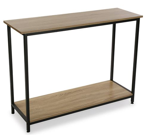 Table d'entrée en bois et métal , coloris chêne/noir - 106 x 35 x 81 cm -PEGANE-