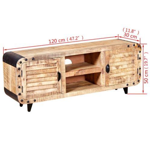 KKmoon Meuble TV/Armoire Latérale/Table Basse/Buffet en Bois de Manguier Massif Style Naturel 120 x 30 x 50 cm