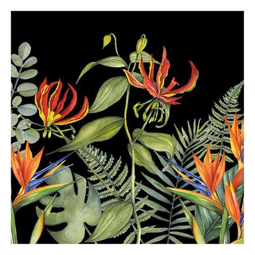 20 serviettes tropicale noir 33x33cm