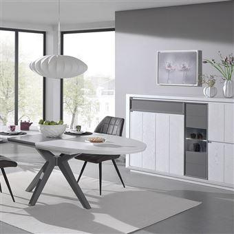 Nouvomeuble - Salle à manger moderne couleur bois blanc et ...