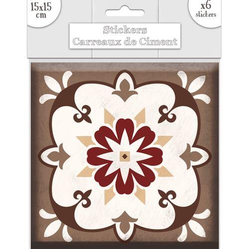 6 stickers carreaux gris - marron 15 x 15 cm