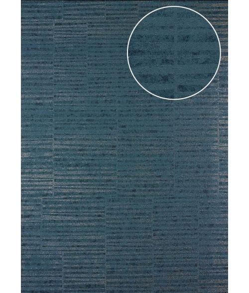 Papier peint à rayures Atlas 24C-6505-1 papier peint intissé lisse avec un dessin graphique et des accents métalliques bleu gris-bleu gris granit argent 7,035 m2