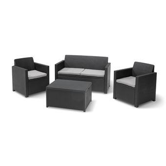 Allibert Salon De Jardin Merano 4 Places - Avec Table-coffre - Imitation  Resine Tressee - Gris