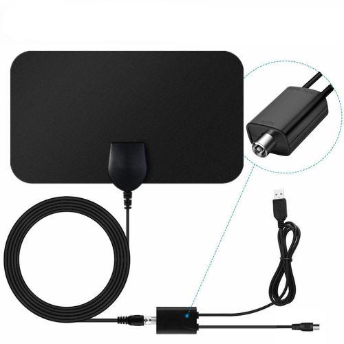 Antenne Tv Intérieur Puissante, 50 Mile Amplifiée 4K 1080P Full HD avec Haute Performance Câble Coax