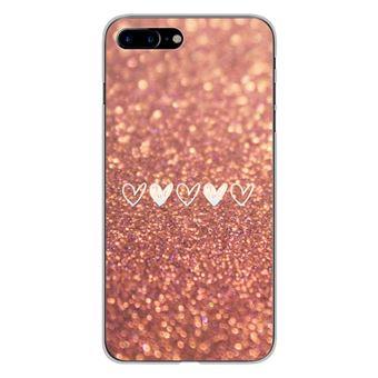 Coque en silicone pour pour Apple IPhone 7 Plus - Paillettes coeur